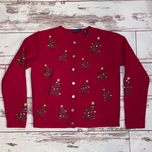 Karen Scott Christmas Cardigan Sweater Women Small